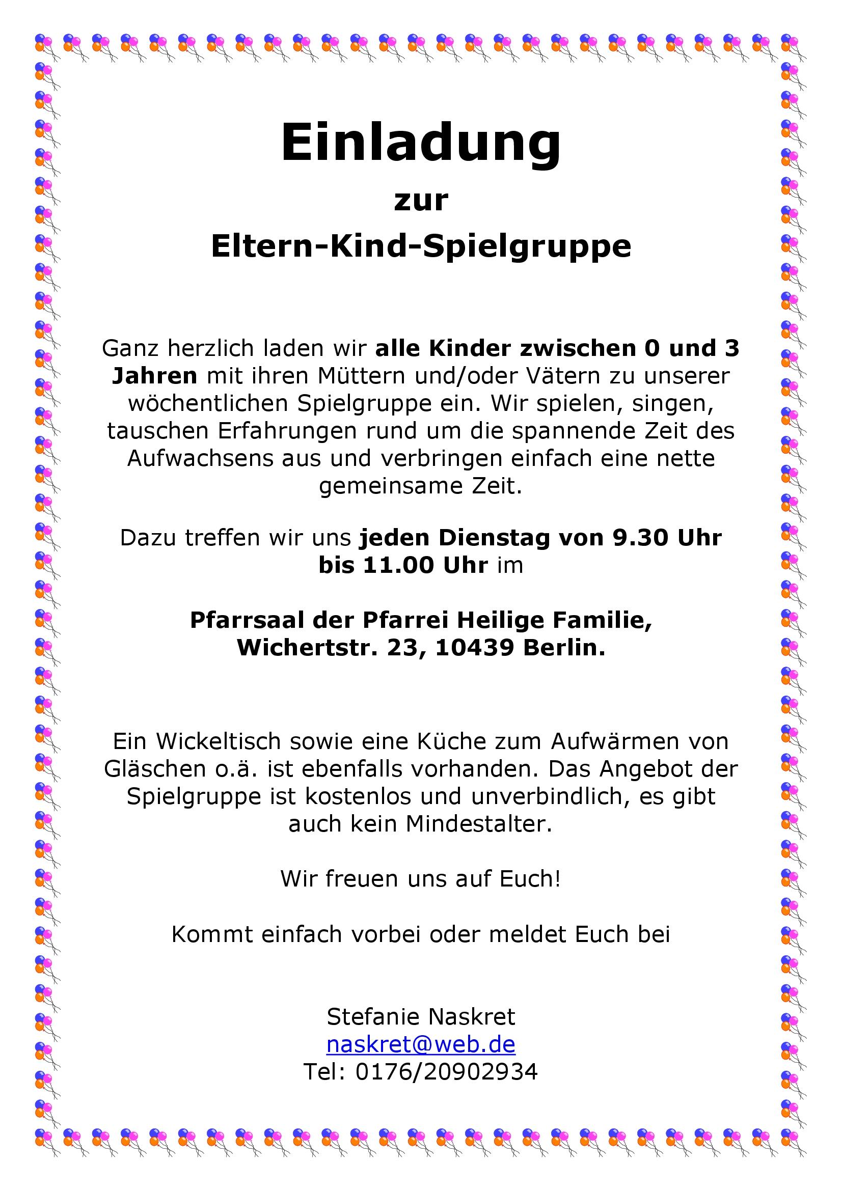 einladung zur eltern - kind - spielgruppe - heilige familie, Einladungen